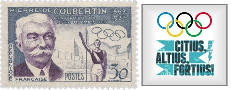 Pierre Coubertin Stamp olympic rings